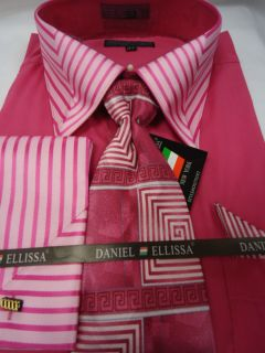 Mens Daniel Ellissa Hot Pink Striped High Collar Dress Shirt Tie Set