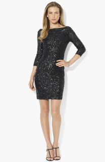 Lauren Ralph Lauren Embellished Mesh Sheath Dress