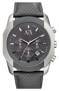 AX Armani Exchange Chronograph Leather Strap Watch