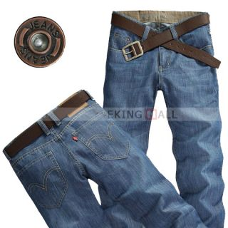 New Mens Blue Denim Leisure Slim Straight Casual Pants Trousers Jeans