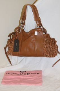 NWT FRANCESCO BIASIA Bronze Brown Leather BEA Woven Pocket Satchel