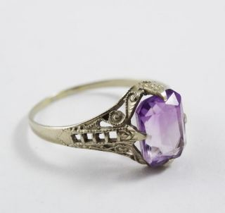 Vintage 1920s Art Deco White Gold 14k Filigree Amethyst Ladies Ring