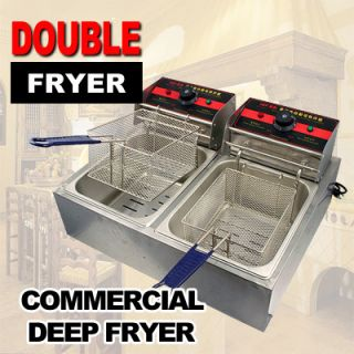 Commercial Restaurant Electric Deep Fryer Cooker Double Tank