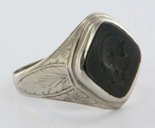 Antique Art Deco White Gold Mens Bloodstone Intaglio Ring Vintage