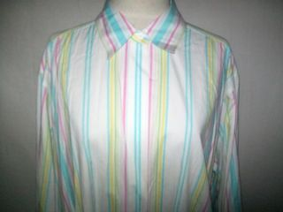 David Brooks Stripe White Shirt Pointed Collar Button Up Long Sleeve