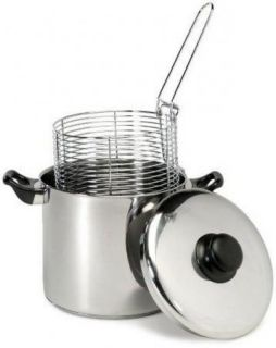 Steel Capsule Base Stovetop Deep Fryer Stainless Steel Basket
