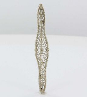 Antique Art Deco White Gold Filigree Bar Brooch Pin Vintage Fine
