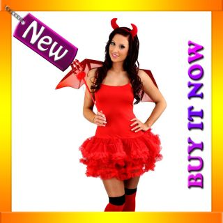 E56 Ladies Red Devil Halloween Fancy Dress Tutu Costume + Horns + Fork
