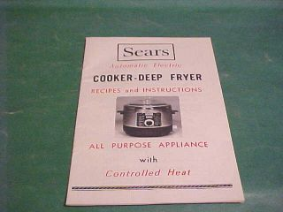 Vintage  Electric Cooker Deep Fryer Recipes Book