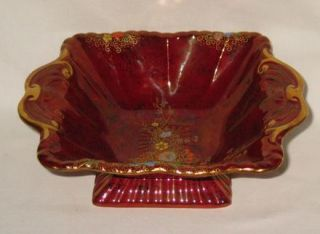Fieldings Crown Devon Art Deco Square Bowl with Enamelled Floral