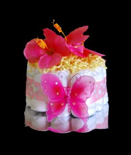 Baby Girl Shower Gift Pink Butterfly Diaper Cake Cute