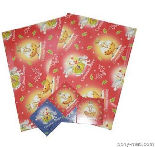 Luxury Christmas Gift Wrapping Pack 2 Sheets Paper & Tags ~ Horse Pony