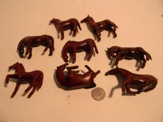Vintage Japanese Hand Carved Wood Netsuke Horses