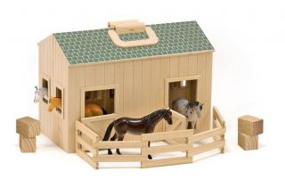 melissa doug wooden fold go mini kids play stable