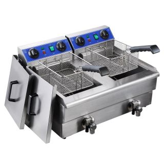 Commercial Electric 20L Deep Fryer w Timer and Drain Stainless Steel