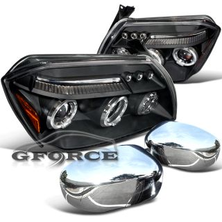 05 07 DODGE MAGNUM BLACK HEADLIGHTS+CHROME SIDE MIRROR COVERS