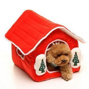 Red Christmas Pet Dog Cat House Bed Dog House Medium