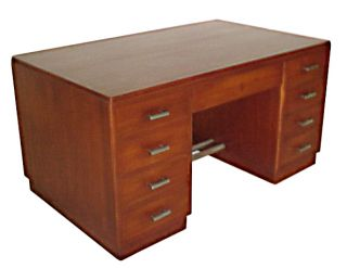 1437 Art Deco double pedestal mahogany desk