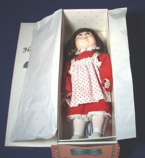 Hello Dolly Jenny Valentine Bisque Porcelain Doll NIB Stand and Very