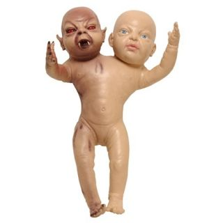 Baby Twins Demon Evil Halloween Prop Toy 2 Headed Doll
