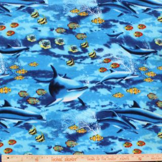 Dolphins And Nemos On Blue Polar Fleece Fabric   BY THE YARD
