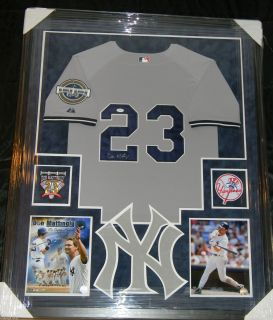 DON MATTINGLY SIGNED JERSEY FRAMED SUEDE MATTING JSA COA NEW YORK