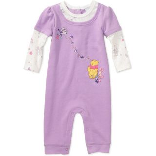 Disney Pooh Infant Baby Girls Thermal Long Sleeve Jumpsuite Romper