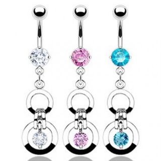 Steel Double Gem Loops Belly Navel Ring Dangle Button Piercing Jewelry