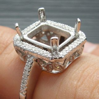 SOLID 14K WHITE GOLD DIAMOND SEMI MOUNT ENGAGEMENT RINGS SETTING