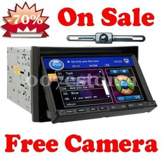 Double DIN 7Motorized Touch Screen Car Audio Stereo DVD Player Rear