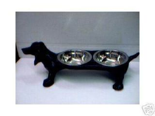 Cast Iron Dachshund Double Feeder Dog Dish