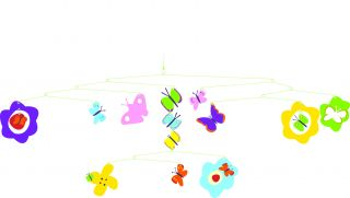 Djeco Colorful Butterflies Hanging Baby Girl Modern Mobile