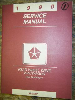 1990 DODGE RAM VAN WAGON REAR WHEEL DRIVE FACTORY SERVICE MANUAL SHOP
