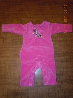 BABY GIRL PINK MINNIE MOUSE VELVET OUTFIT 0 3 MONTHS