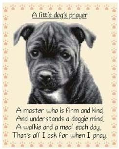 Staffordshire Bull Terrier Puppy Dog Cross Stitch Kit