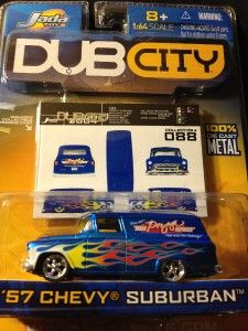 Dub City 57 Chevy Suburban Collector 088 Jada Toys Blue w Flames 1 64