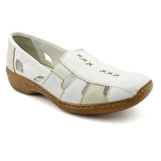 Used Rieker Doris Womens Size 8.5 White Leather Flats Shoes