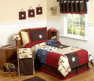 DESIGNS UNIQUE CHEAP WESTERN HORSE COW BOYS KID TWIN SIZE BEDDING SET