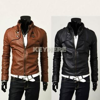 New Men Designed PU Leather Slim Top Jacket Sexy Short Fit Coat