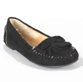 Women Soda Parry Black Flat Moccasins with Fur Lining