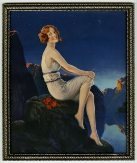 Antique Art Deco 1930s Gorgeous Grecian Goddess Framed Pin Up Moonlit