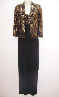 Alex Evenings Black Stretch Jersey Empire Waist Formal Gown Dress