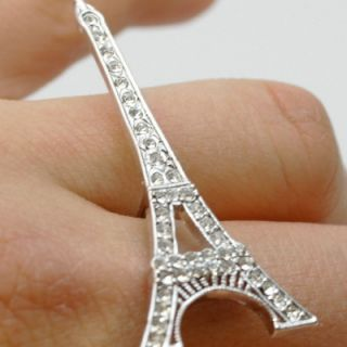 Eiffel Tower Two 2 Double Finger Ring Silver Color