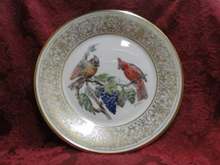 Edward Marshal Boehm Birds Plate Ornate Gold Decorative Cardinal 1976