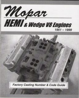 Chrysler Mopar Dodge Ply Engine Casting Number ID Book