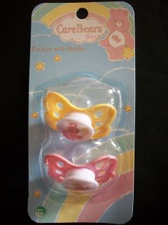 Set Of Two Care Bears Baby Pacifiers With Holder BPA Free BRAND NEW IN