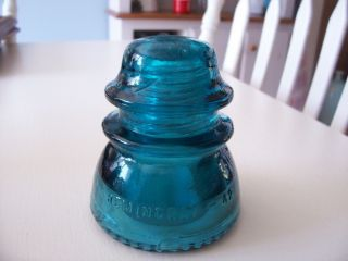 Antique Hemingray 42 Blue Green Glass Electric Pole Insulator