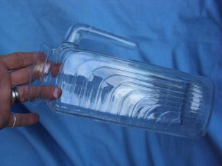 Vintage Antique Art Deco Pattern Glass Pitcher Signed