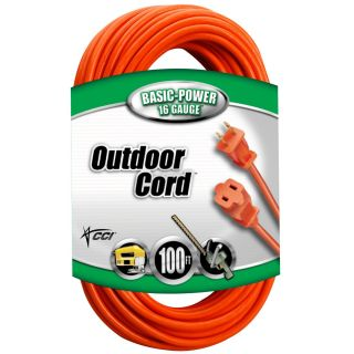 Coleman Cable 02209 16/2 Vinyl Outdoor Extension Cord, Orange,