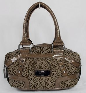 New Guess Enya Womens Brown Signature Satchel Shoulder Bag Handbag